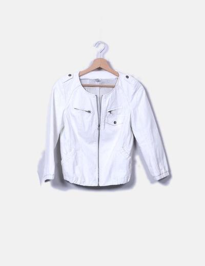 Veste blanc simili cuir