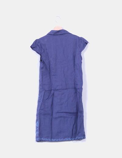 Vestido de lino azul petroleo