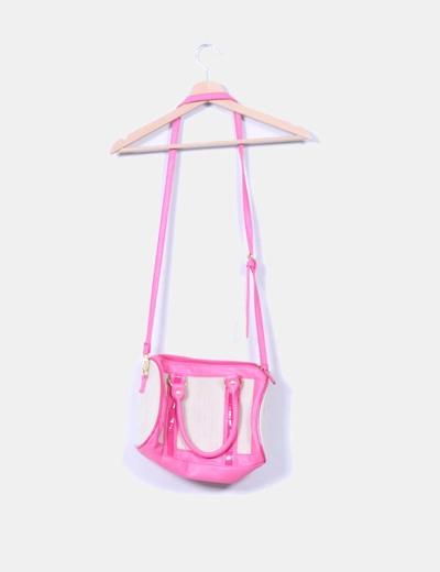 Bolso rosa y beige