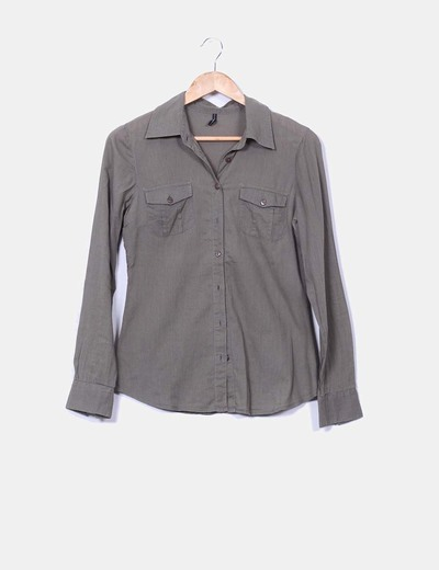 Camisa khaki manga larga Naf Naf