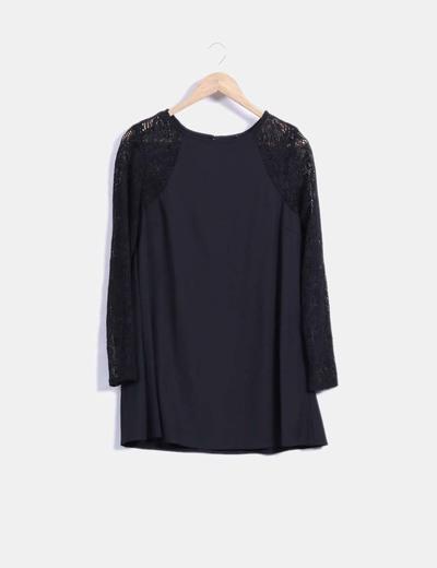 Vestido negro manga crochet Haoduoyi