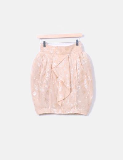 Falda globo nude texturizado glitter