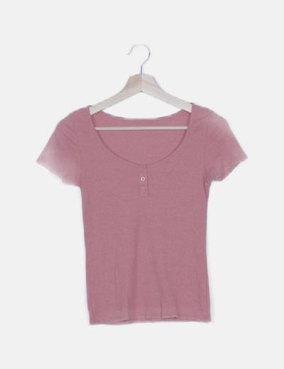 Camiseta rosa canalé