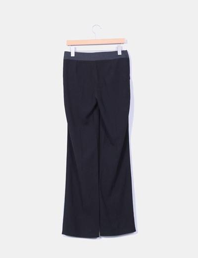 Pantalon negro combinado corte recto