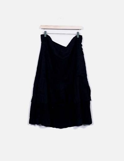 Falda midi negra calada NoName