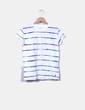 Camiseta blanca con rayas asimétricas azules Pepe Jeans