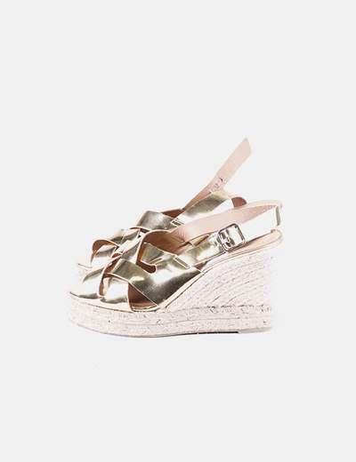 Sandales dorées compensées Castañer