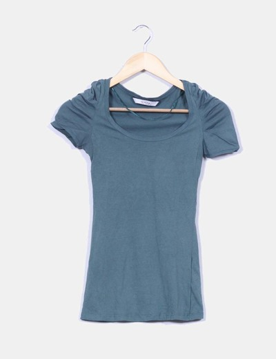 Camiseta verde mangas drapeadas Pull&Bear