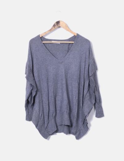 Jersey oversize gris detalles plisados Zara