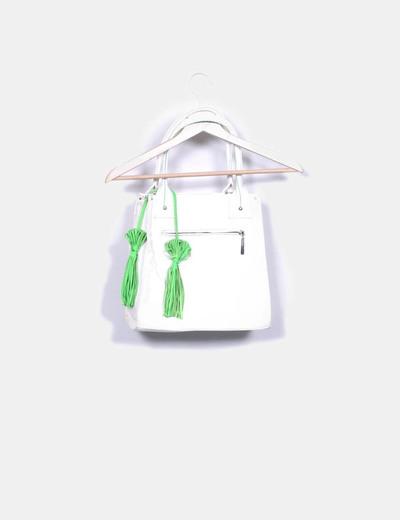 Bolso blanco y verde troquelado