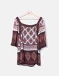 Blusa marrón estampada Cortefiel
