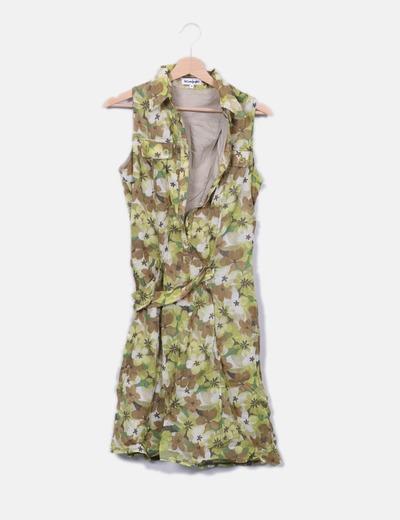 Vestido camisero verde floral El Corte Inglés