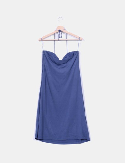 Vestido azul con pedreria palabra de honor