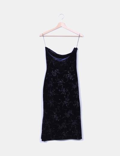 Maxi falda azul terciopelo con brillo Zara