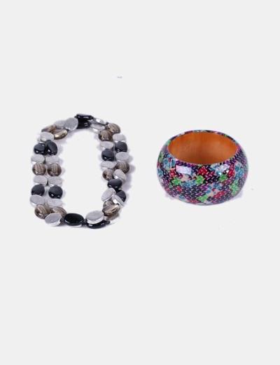 Conjunto de collar y pulsera multicolor NoName