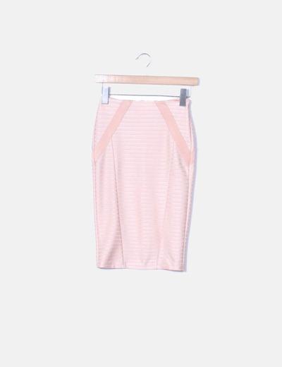 Falda rosa satinada