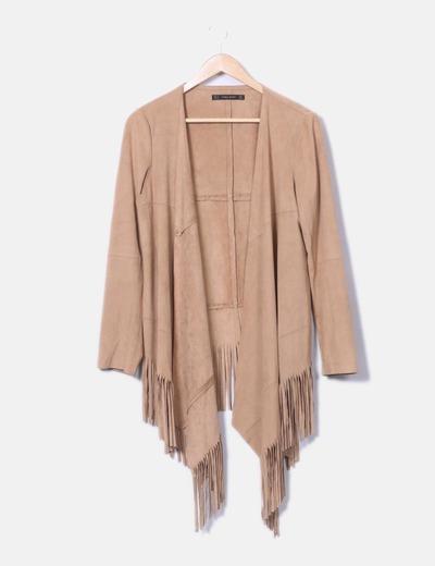 Kimono antelina camel con flecos