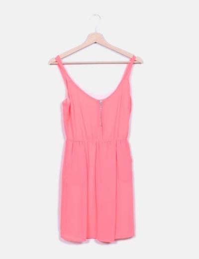 Vestido rosa flúor Stradivarius