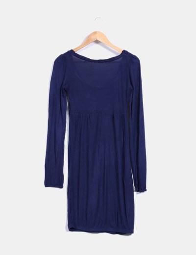 Vestido combinado con tricot azul