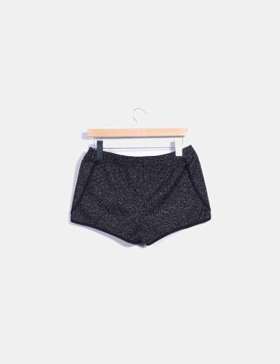 Shorts tweed negro jaspeado