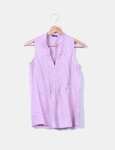 Blusa lila escote abotonado Massimo Dutti