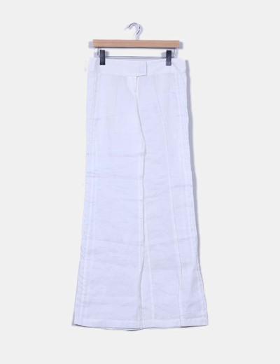 Pantalón blanco de ramio Zara