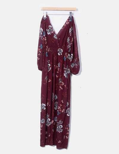 Robe couleur bordeau midi imprimé floral NoName
