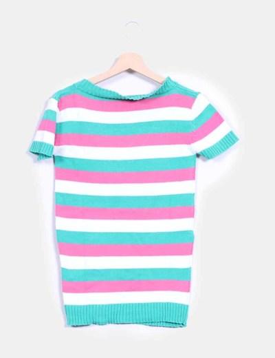 Top tricot manga corta de rayas tricolores