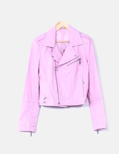mejor amado gran surtido predominante Cazadora cuero biker rosa