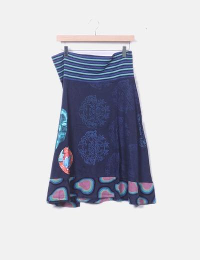 Falda midi azul marino estampada