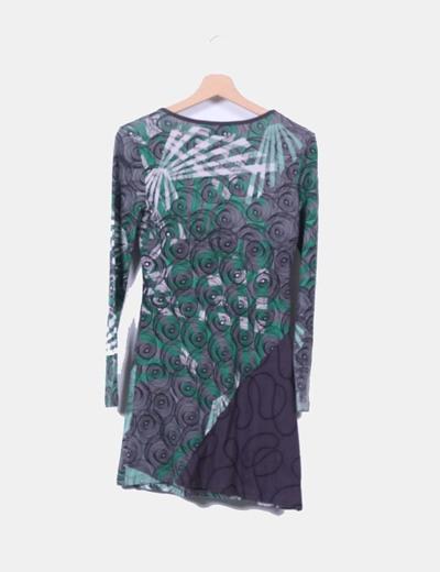 Vestido estampado verde y gris