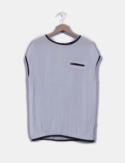 Camiseta combinada detalle en polipiel NoName
