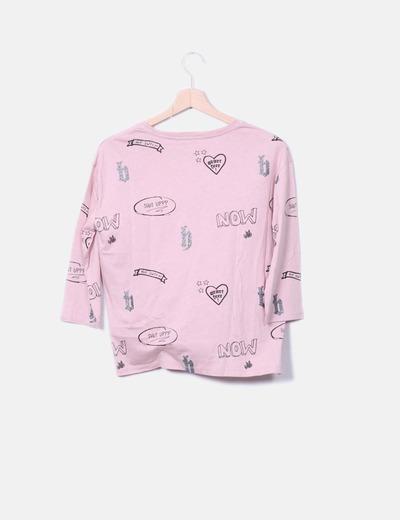 Camiseta rosa print combinado