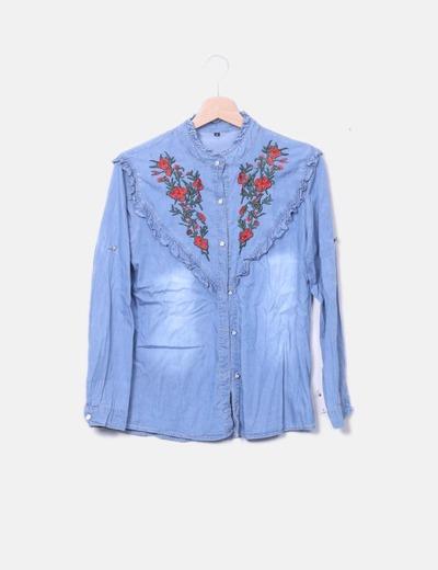 Camisa denim con bordado floral