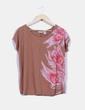 Camiseta marrón con estampado floral Soft Grey