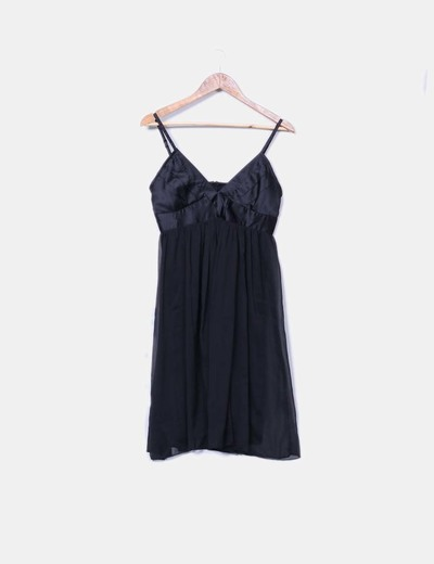 Vestido negro fluido gasa NoName
