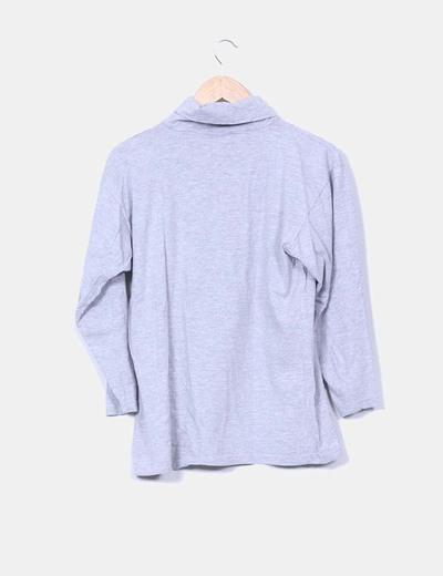 Camiseta gris jaspeada manga larga bolsillo