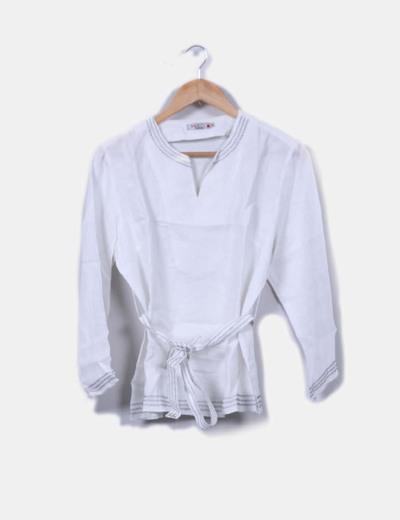 Camisa kaftán lino blanco Isi Woman