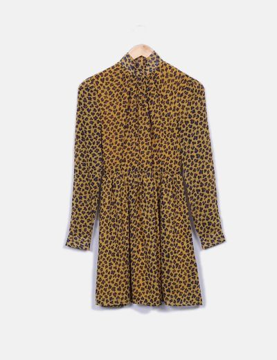 Vestido midi amarillo leopardo Fashion Union