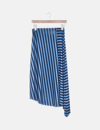 Falda midi azul raya negra