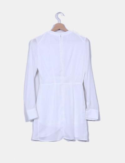 Vestido gasa blanco cruzado manga larga