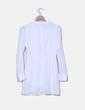 Vestido gasa blanco cruzado manga larga Sheinside