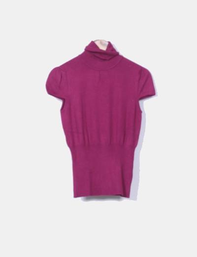 Top tricot frambuesa cuello vuelto Pimkie