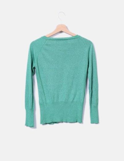 Chaqueta tricot verde glitter