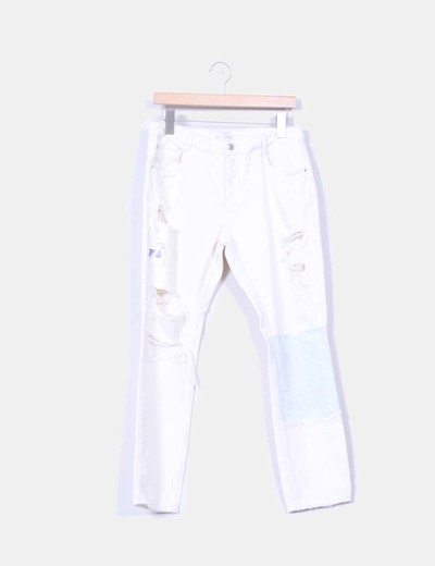 Jeans denim color crudo ripped Zara
