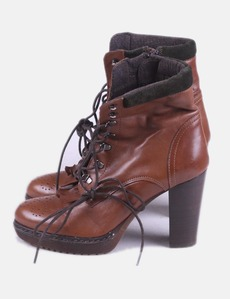 Brown heel ankle boots with laces Alpe b82441c9e1b17