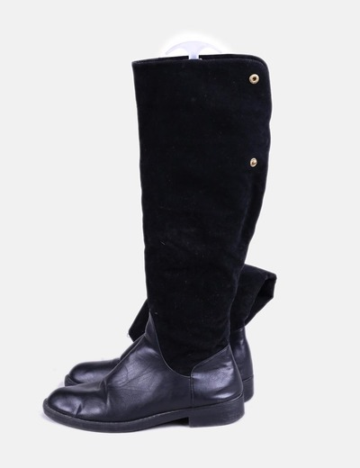 Botas altas doble textura negras NoName