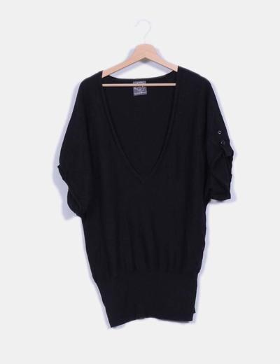 Jersey negro cuello pico Caché-Caché