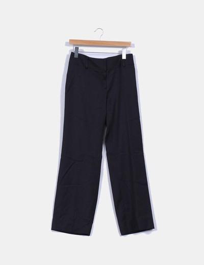 Pantalon negro recto estampado rayas C2C