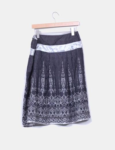 Falda  midi estampada Promod